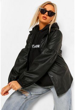Black Puff Sleeve Faux Leather Shacket