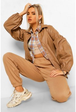 Camel beige Puff Sleeve Faux Leather Shacket