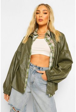 Khaki Puff Sleeve Faux Leather Shacket
