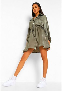 Khaki Hammered Satin Ruched Waist Shirt Dress