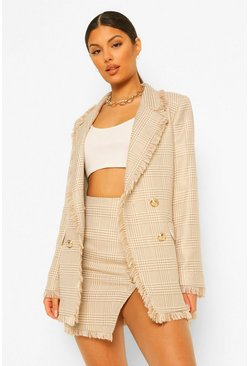 Dog Tooth Checked Frayed Hem Blazer, Camel beige