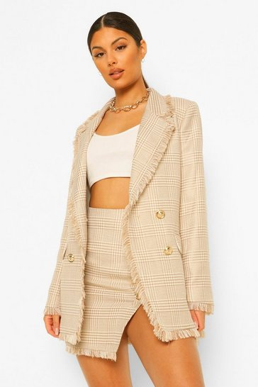 Camel beige Dog Tooth Checked Frayed Hem Blazer