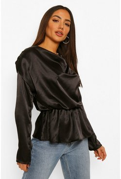 Black Hammered Satin Balloon Sleeve Shoulder Pad Top