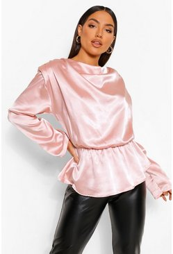 Rose pink Hammered Satin Balloon Sleeve Shoulder Pad Top