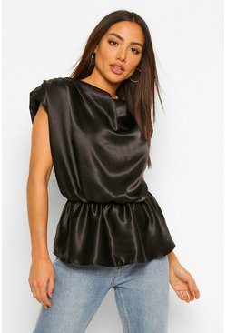 Black Hammered Satin Shoulder Pad Top
