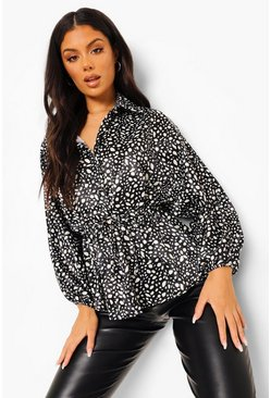 Black Hammered Satin Dalmatian Print Ruched Waist Blouse