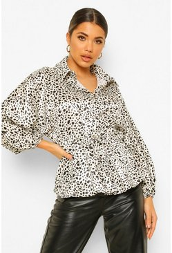 Ivory white Hammered Satin Dalmatian Print Ruched Waist Blouse