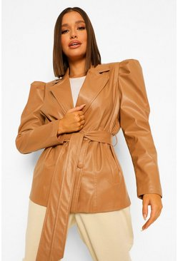 Camel beige Faux Leather Puff Shoulder Belted Jacket