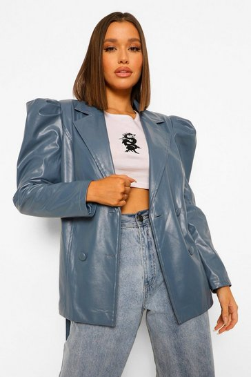 Dusty blue blue Faux Leather Puff Shoulder Belted Jacket