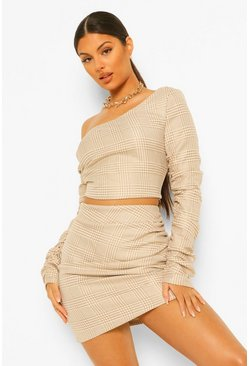 Dog Tooth Checked Ruched Sleeve Co-ord Set, Camel beige