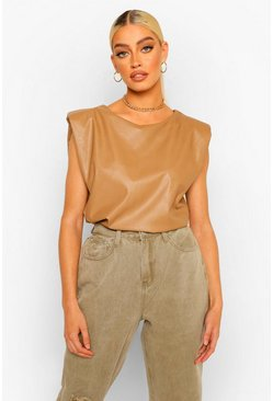 Tan brown Leather Look Shoulder Pad Top