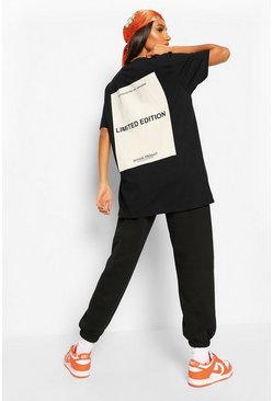 T-shirt oversize Limited Edition con stampa sul retro , Nero