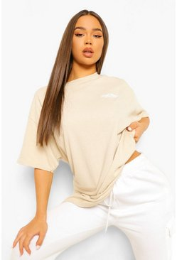 Stone beige Oversized Limited Edition Back Print T-shirt