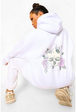 White Skull And Rose Back Print Oversized Band Hoodie