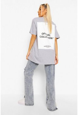 Grey marl grey Oversized Official Collection Back Print T-shirt