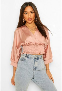 Rose pink Ruched Waist Wrap Satin Top