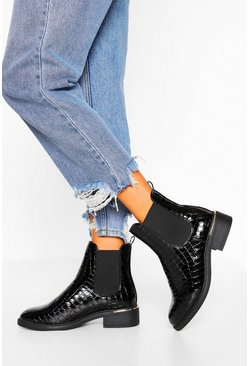 Black Wide Fit Metal Detail Croc Chelsea Boot