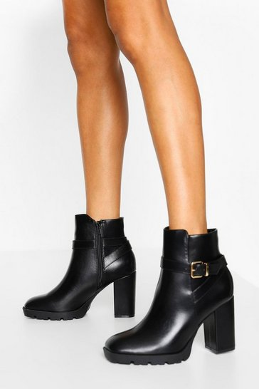 Black Wide Fit Heeled Buckle Chelsea Boot