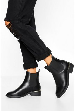 Black Wide Fit Metal Detail Chelsea Boot