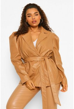 Camel beige Plus Faux Leather Puff Shoulder Belted Jacket