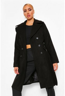 Black Double Breasted Belted Longline Wool Look Coat