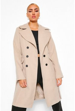 Stone beige Double Breasted Belted Longline Wool Look Coat