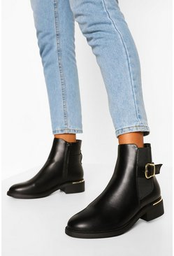 Black Wide Fit Buckle Pu Chelsea Boot