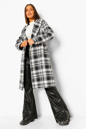 Black Oversized Check Belted Wool Look Robe Coat