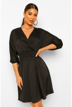 Black Ruched Waist Wrap Satin Dress