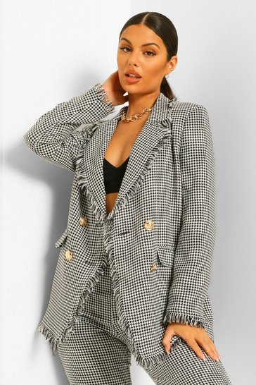Blackwhite black Dogtooth Checked Frayed Hem Blazer