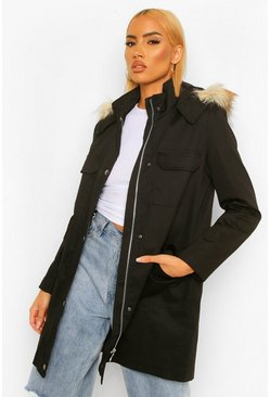 Black Pocket Detail Faux Fur Trim Parka