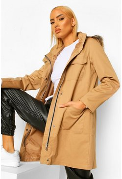 Camel beige Pocket Detail Faux Fur Trim Parka