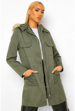 Khaki Pocket Detail Faux Fur Trim Parka