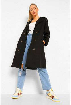 Black O Ring Detail Belted Trench Coat