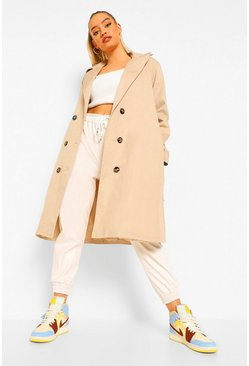 Stone beige O Ring Detail Belted Trench Coat