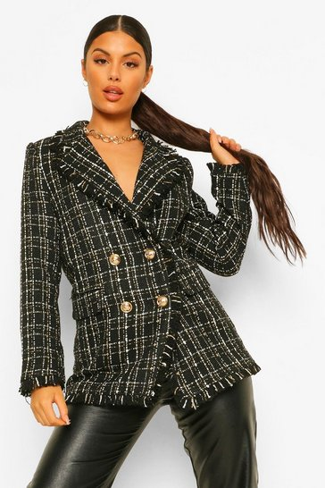 Black Metallic Checked Frayed Hem Blazer