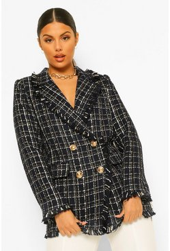 Navy Metallic Checked Frayed Hem Blazer