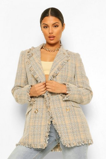 Stone beige Checked Boucle Frayed Hem Blazer