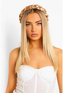 Satin Ruched Headband, Champagne beige