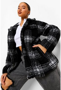 Black Geruite Oversized Faux Fur Teddy Trucker Jas