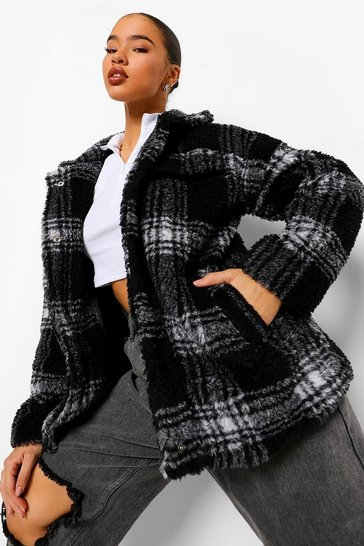 Black Check Oversized Teddy Faux Fur Trucker Jacket
