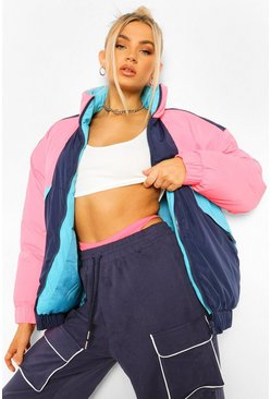 Pink Colourblock Padded Jacket