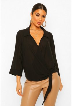 Black Wrap Front Knot Side Blouse