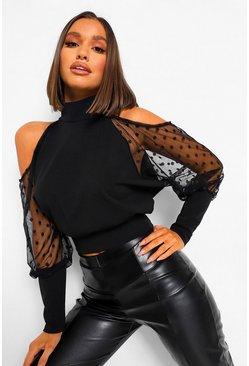 Black Dobby Mesh Cold Shoulder Top