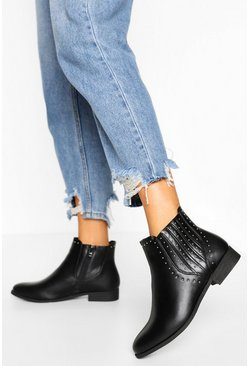 Studded Detail Chelsea Boot, Black schwarz