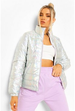 Silver Funnel Neck Metallic Puffer Jacket