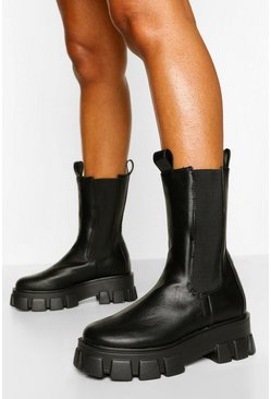 Black Cleated High Ankle Chelsea Boot