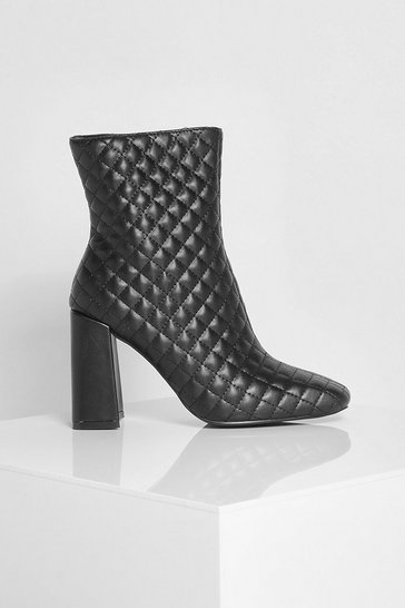 Black Quilted Square Toe Shoe Boot
