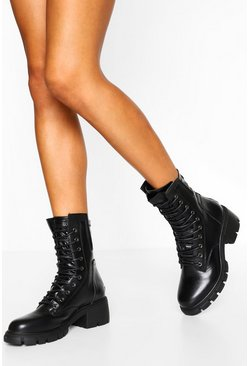 Black Split Sole Lace Up Hiker Boot