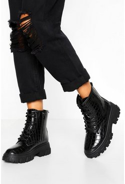 Black Chunky Cleated Croc Hiker Boot